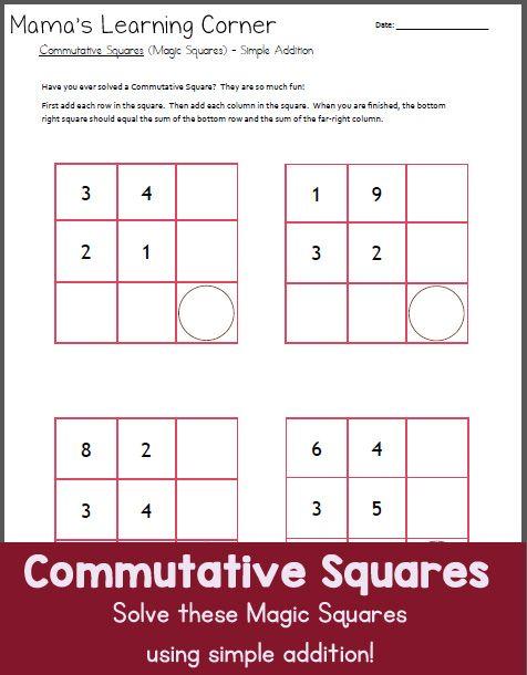 math worksheet : commutative squares magic squares simple addition  worksheets  : Magic Squares Math Worksheets