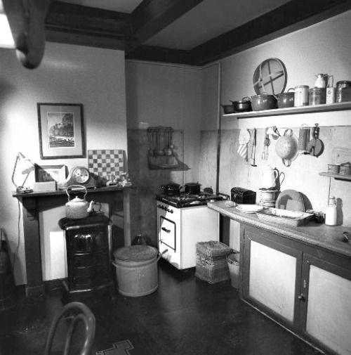 The kitchen/living room of the Secret Annex, refurnished to reflect how it would have looked during the inhabitants' time in hiding.  This room also served as Hermann and Auguste van Pels' bedroom at night.