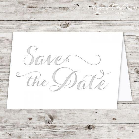 Klappkarte Lasercut Save the Date: Eine ganz besondere Tischkarte mit lasergeschnittenem Schriftzug. Die Karten sind bestempelbar und auch für ausgefallene ...