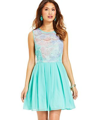 B Darlin Juniors&-39- Lace Pleated Dress from Macy&-39-s $79.00 TOLO Dress ...