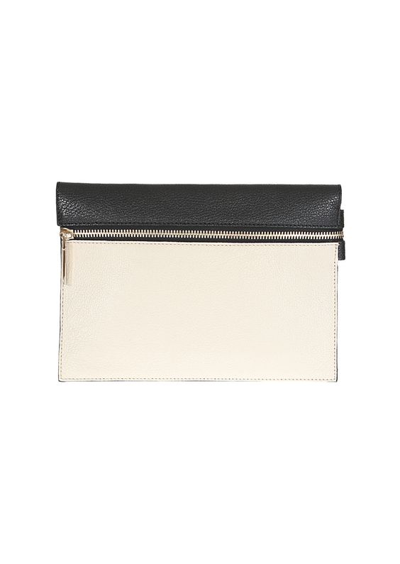Victoria Beckham black and beige grained leather clutch