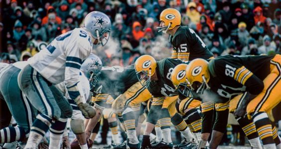 """The 1967 NFL Championship game, more commonly known as the """"Ice Bowl"""" because the temperature was 15 below zero at kickoff. Green Bay mounted a furious late 4th quarter drive to beat the Cowboys 21-17."""