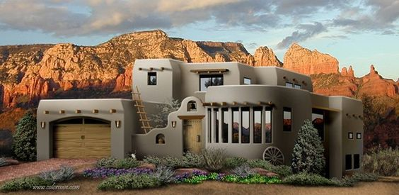 southwest style homes - Bing Images garage and curved room