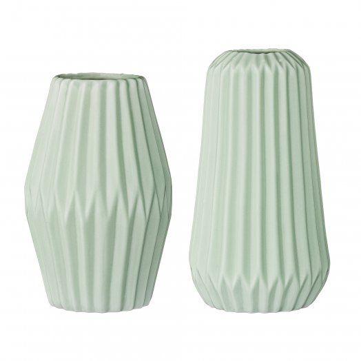 Bloomingville Vase geriffelt mintgrün aus Porzellan