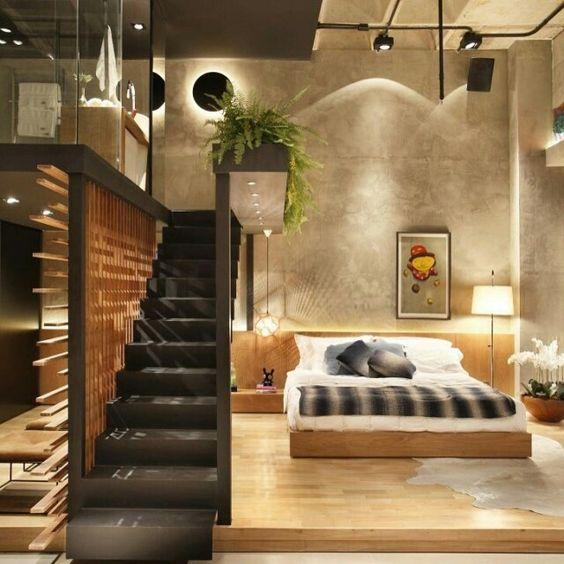 O loft com estilo industrial da foto recebeu a assinatura for Vitrina estilo industrial