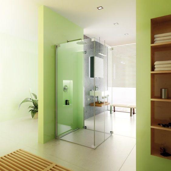 grünes badezimmer * offenes bad * glaswand * ausgefallene, Hause ideen