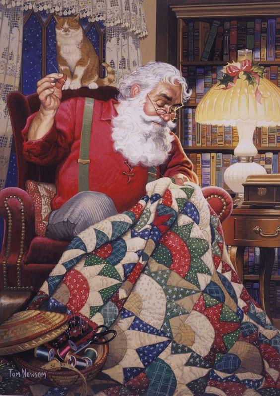 Tom Newsom (b.1944) — Quilting Santa (678×960):
