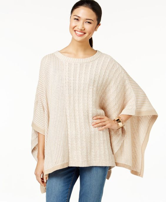 Two by Vince Camuto Mixed-Knit Poncho Sweater