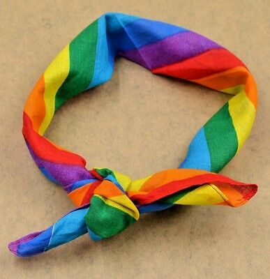 LGBT GAY PRIDE RAINBOW STRIPE BANDANA for Parade-Festivals-Carnival-Fancy Dress