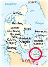 Lolland (red) on Map of Denmark - Pub. Dom.