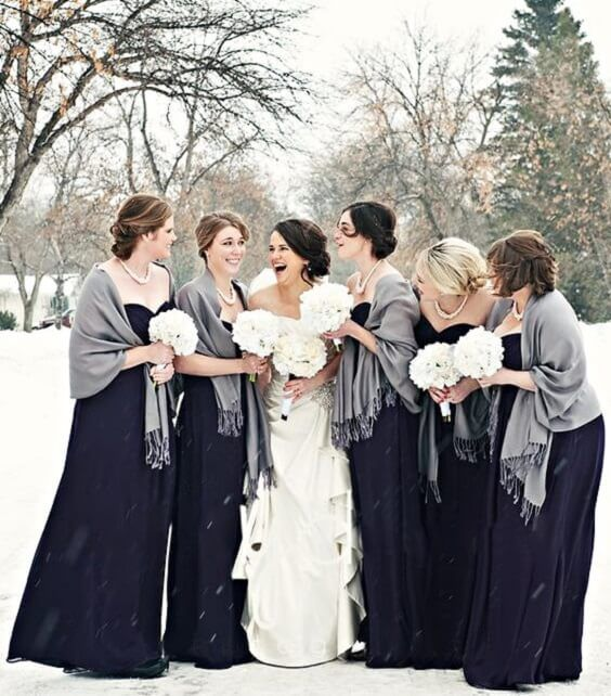 Vivid Navy Grey And White Winter Wedding Color Inspirations Winter Bridesmaid Dresses Blue Bridesmaid Dresses Winter Winter Wedding Bridesmaids