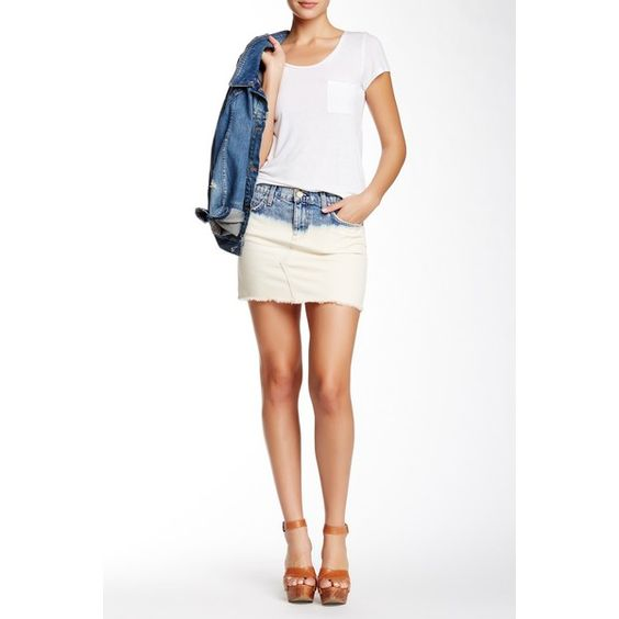 Current/Elliott The Cut-Off Mini Denim Skirt ($70) ❤ liked on ...