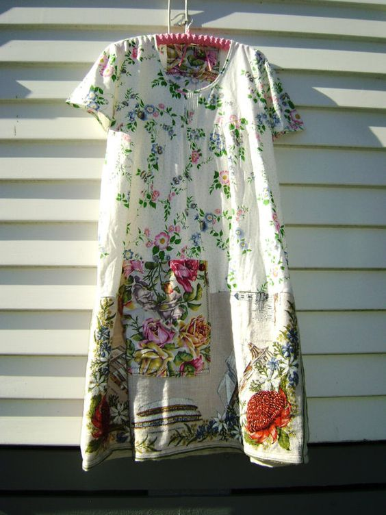 coton fleurs mama dimanche myrtille gâteau retravaillé vintage robe floral lin coton douillet confortable swanning mooching robe