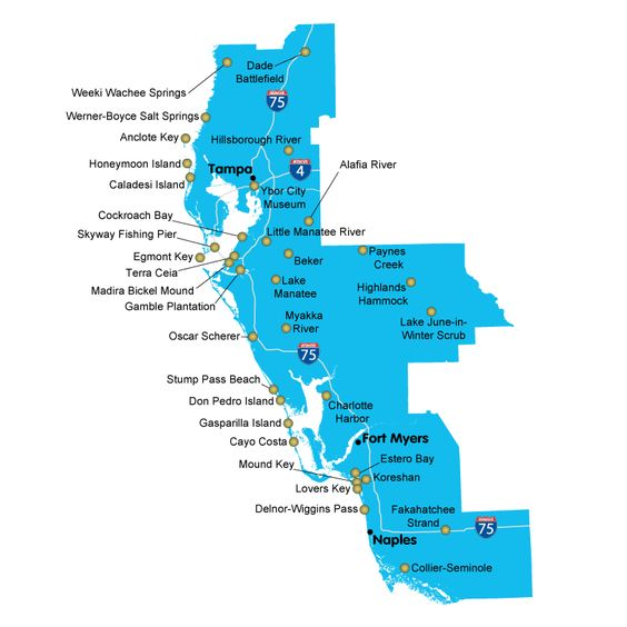 map of florida state parks southwest district florida