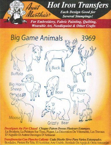 Big Game Animals Aunt Martha's Hot Iron Embroidery Transfer  Price : $4.22 http://www.crecrafts.com/Animals-Aunt-Marthas-Embroidery-Transfer/dp/B006SIENVK