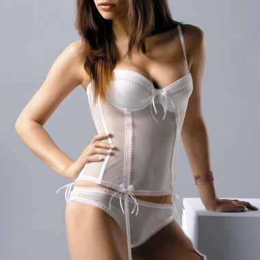 gracya paola corset bridal made in pretty white mesh fabric with pink ribbons threaded through and bows to complete the look the corset features push up - Guepiere Mariage Push Up