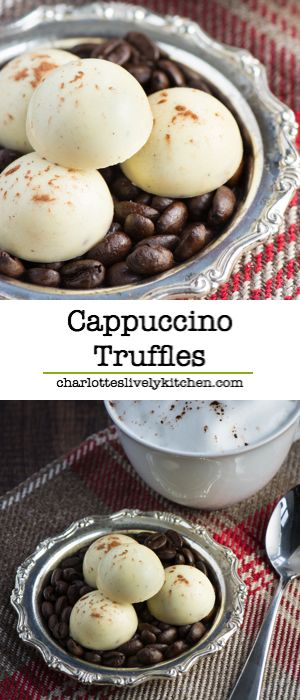 Cappuccino truffles - A soft milk chocolate and coffee ganache centre, coated in white chocolate and sprinkled with a little cocoa powder. Gluten free.