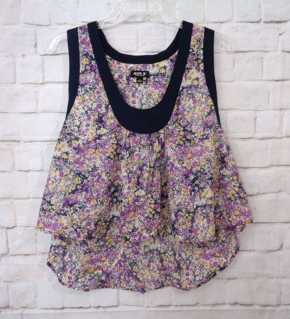 Womens ALLEN B Colorful Floral Scoop Neck Hi Low Cotton Swing Tank Top SZ Large #AllenBbyAllenSchwartz #TankTop #Casual