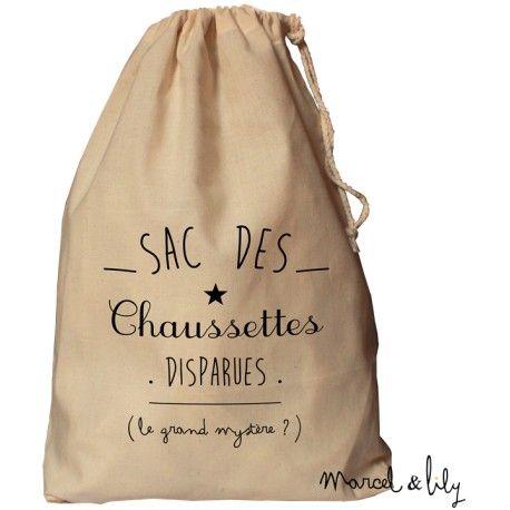 sac baluchon en coton pour y stocker vos chaussettes orphelines imprimé chez marcel et lily disponible en 3 coloris