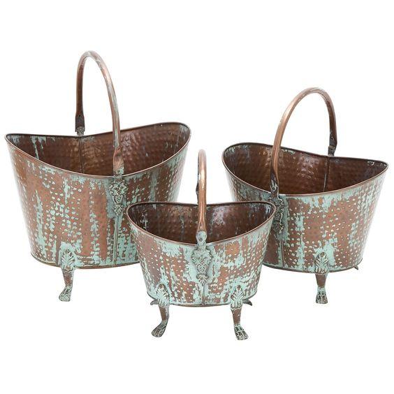 Rustic Wash Metal Planters.
