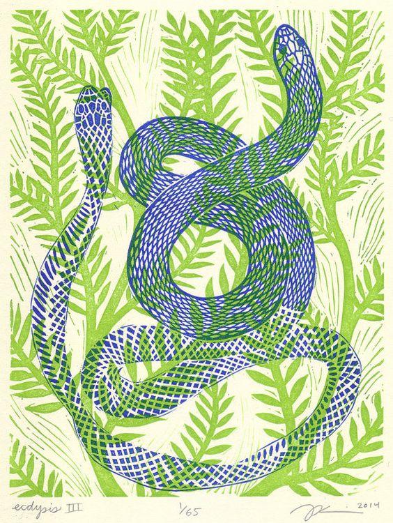 "8 x 10 Linocut Print ""Ecdysis III"" - snake / serpent / shedding skin / snake art / snake print / blue / vine / green / animal art / renewal"