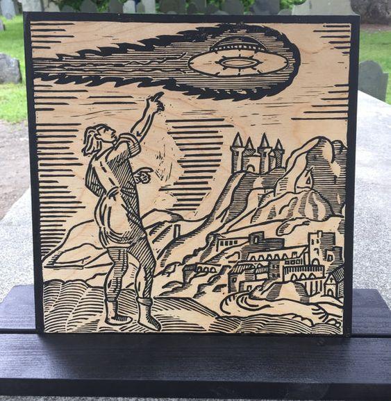 Ego Quid Videret - Blockprint on Wood - A Medieval UFO Sighting