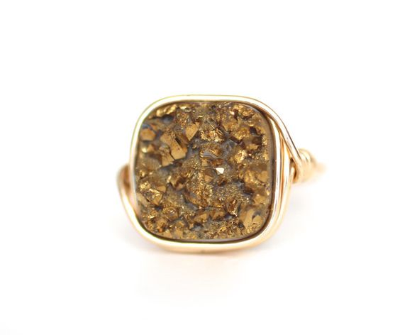 Gold Square Druzy Statement Ring