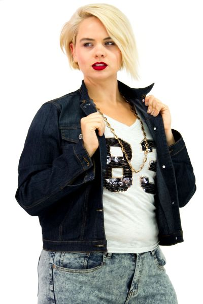 Plus Size Dark Blue Denim Jacket | Danice Stores An old-school dark blue denim jacket with a modern fit that will be a nice piece in your wardrobe. Classic features like a basic collar, dual chest flap pockets, long sleeves.