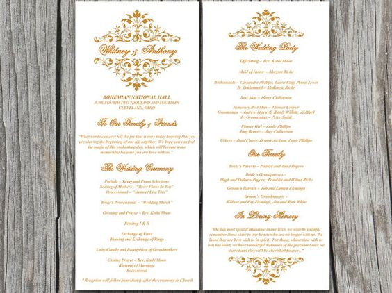 Vintage Gold Bouquet Wedding Program Microsoft Word Template   EDITABLE TEXT   Golden   Downloadable Wedding Tea Length Program   ANY Color by PaintTheDayDesigns on Etsy, $7.75