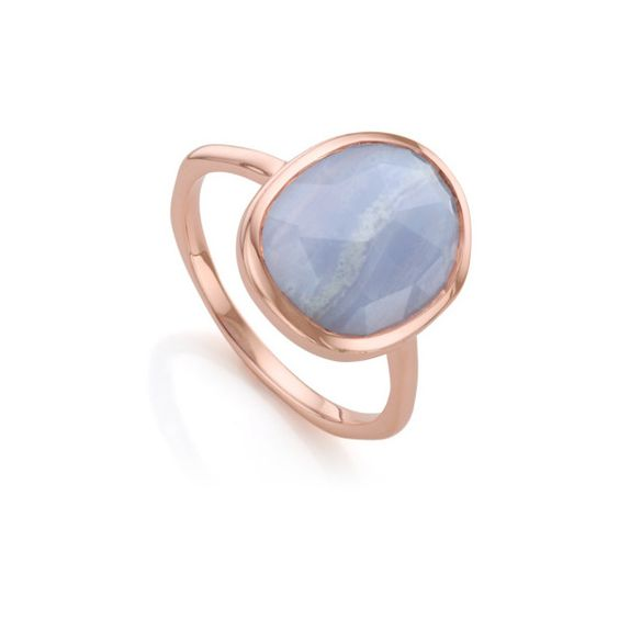 Monica Vinader Rose Gold Vermeil Siren Medium Stacking Ring - Blue... (£95) ❤ liked on Polyvore featuring jewelry, rings, blue, gold vermeil ring, rose jewelry, lace jewelry, stacking rings jewelry and blue rose jewelry