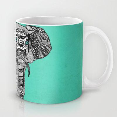 Tribal Elephant Black and White Version Mug by Pom Graphic Design  - $15.00