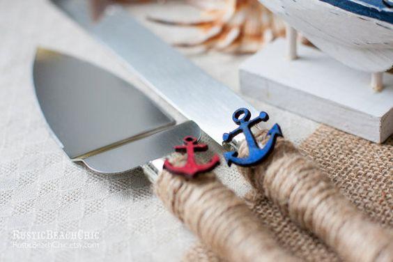 Servidor de la torta de boda náutica y ancla de por RusticBeachChic