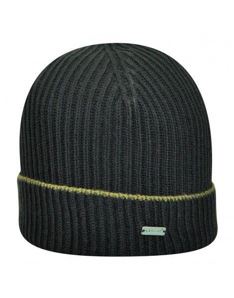 - caciula neagra Kangol Fully Fashioned - personalizata cu logo - terminatie rasucita