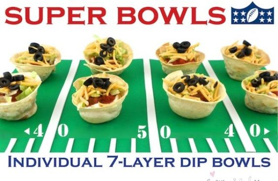 Individual 7-Layer Dip Bowls. 35 Best Super Bowl Snack Recipes