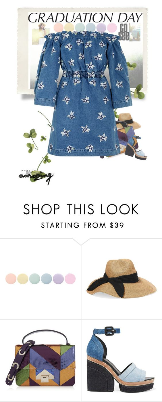 """Day Dress"" by vallyk ❤ liked on Polyvore featuring Deborah Lippmann, Eugenia Kim, Jimmy Choo, Pierre Hardy, House of Holland and graduationdaydress"