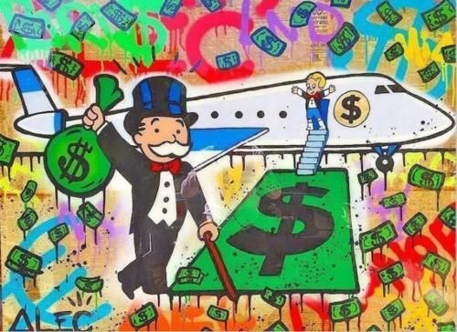Details About Alec Monopoly Huge Oil Painting On Canvas Urban Art