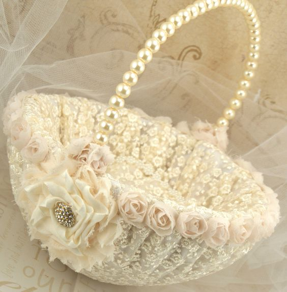 Flower Girl Basket Bridal Basket in Ivory and Cream by SolBijou, via Etsy.