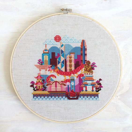 Pretty Little Hong Kong - Modern Cross Stitch Pattern PDF - Instant download