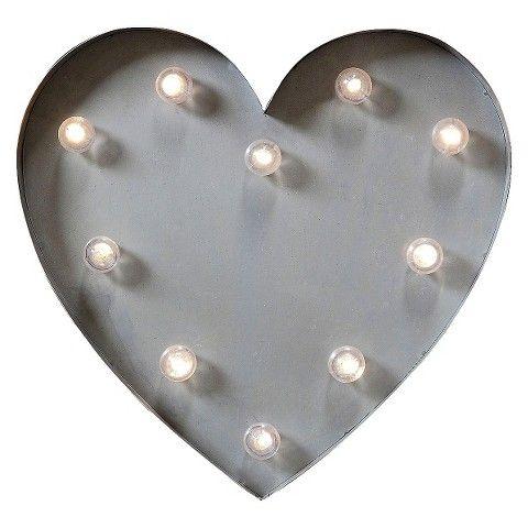 Metal LED Heart Lamp