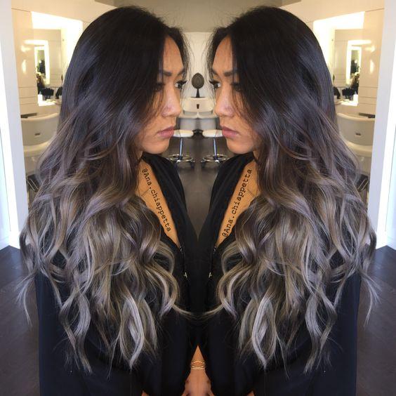 Silver hair, grey hair, balayage, ombré, sombre, blue grey, @