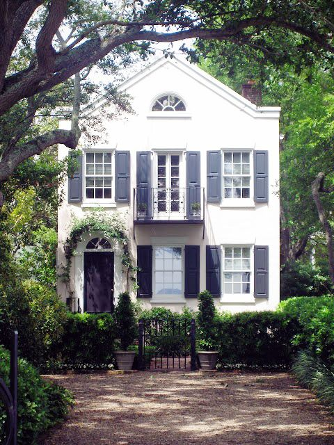 note to self: | lark & linen: White Houses, Dream Homes, Favorite Place, Dream House, Black Shutters, Curb Appeal, Southern Charm, House Idea, Dreamhouse