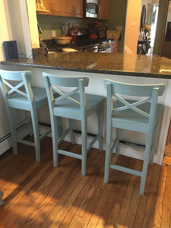 IKEA counter stools painted with Annie Sloan chalk paint in Duck Egg Blue.