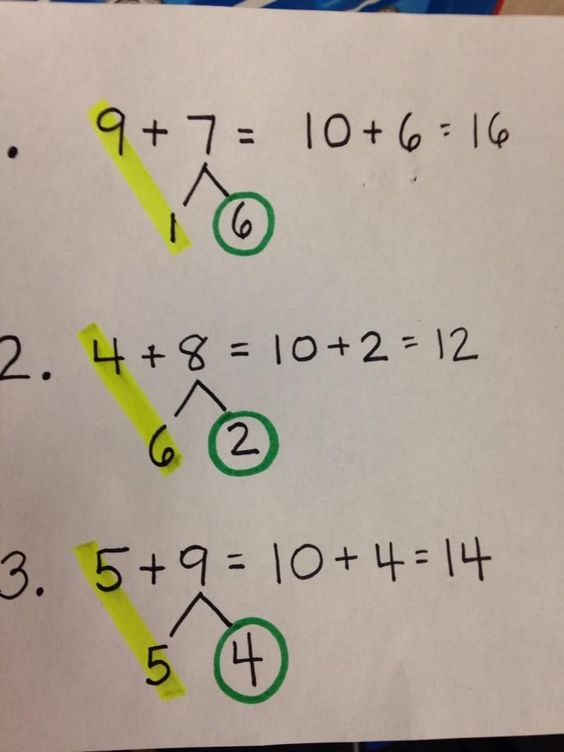 "Great trick for teaching how to make 10. Students use a highlighter to find the ""10"" and then circle the other number with a crayon. Brilliant!"