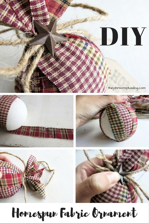 DIY Homespun Fabric Christmas Ornaments - Click through for detailed tutorial for 4 different kinds of DIY Christmas ornaments. They make great handmade Christmas presents! Primitive Christmas Decor } Rustic Christmas Decor | Primitive Christmas Ornament: