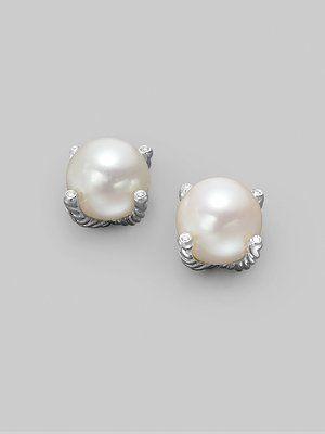 David Yurman White Freshwater Pear, Diamond, and Sterling Silver Earrings