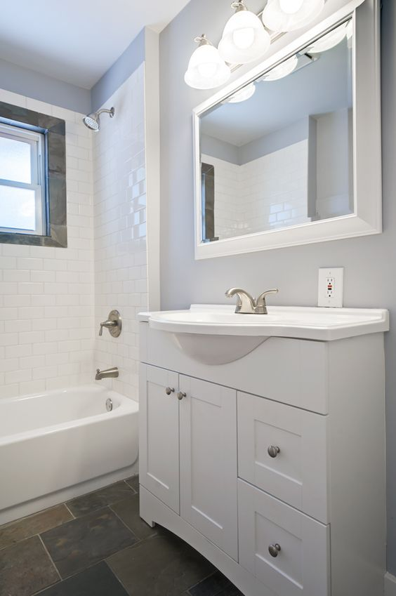 Bathroom ideas darker floors with white walls dads - Small white bathroom cabinet floor ...