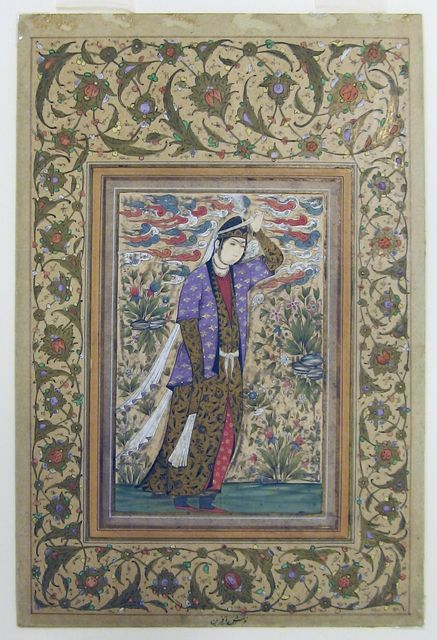 """Tombstone:  Drawing, """"Persian miniature: Standing woman"""", 18th Century.  18th Century. Pen and black ink, brush and opaque watercolors and gold  Smithsonian, Cooper-Hewitt, National Design Museum"""