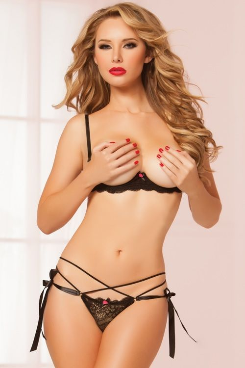 Seven Til Midnight String Along Bra Set Black STM10506P via Love Temptation. Click on the image to see more!