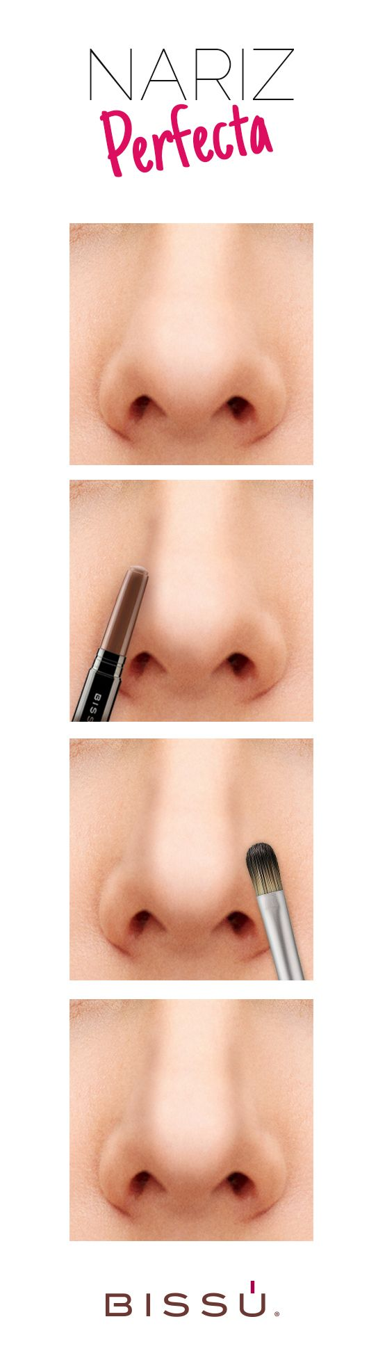 Consigue una nariz perfecta, puedes disimularla con esta guía.  Dibuja una línea recta en las partes laterales de la nariz con Corrector tono 8.  Difumina con una brocha.