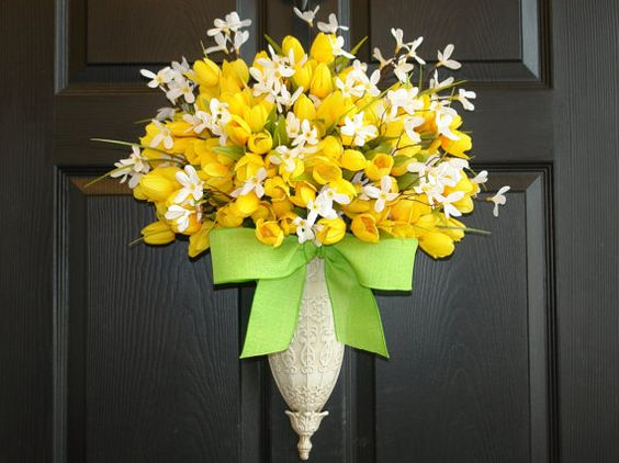 spring wreath Easter wreaths tulips wreath front by aniamelisa
